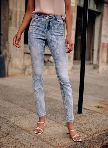 Paisley Print Slim Leg Jeans, Blue,  spring summer 2021, pants, jeans, mid rise, slim leg, button, zipper, pattern, print, motif, paisley, stretch denim, pockets
