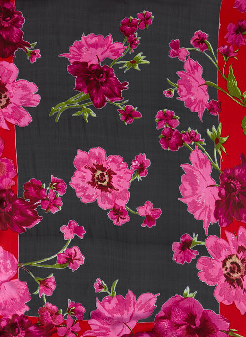 Foulard oblong léger à fleurs, Rouge, hi-res