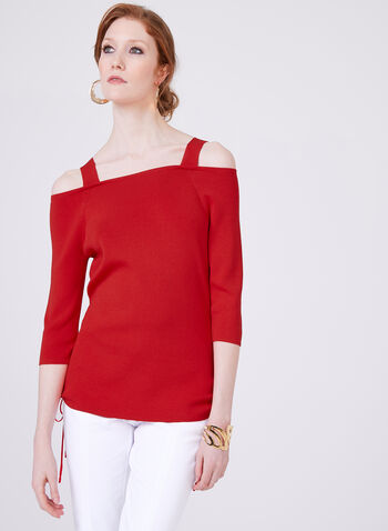 Elena Wang – Cold Shoulder Knit Top, Red, hi-res