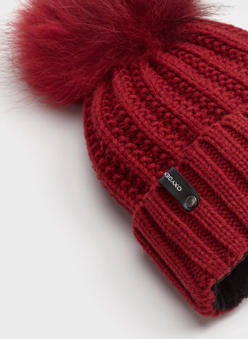 Fur Pompom Knit Hat, Red, hi-res