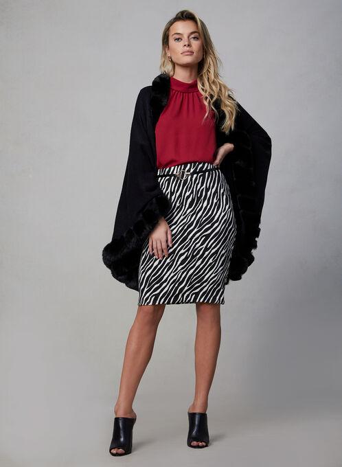 Zebra Print Jacquard Skirt, Black