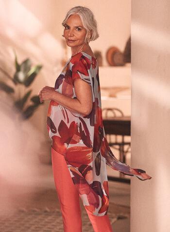 Floral Print Chiffon Blouse, Orange,  blouse, floral, chiffon, short sleeves, boat neck, high low hemline, spring summer 2020