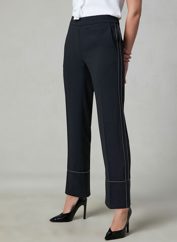 Pull On Straight Leg Pants, Black, hi-res