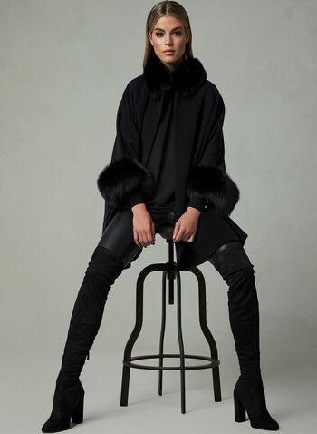 Mallia - Cape en laine à détails de fourrure, Noir,