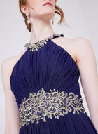 Cachet - Sleeveless Flared Beaded Lace Dress, Blue, hi-res