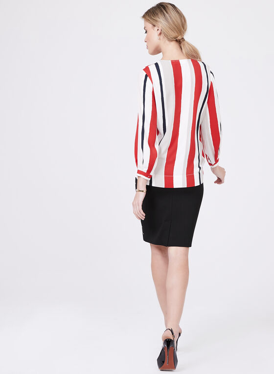 Stripe Print Surplice Blouse, Red, hi-res