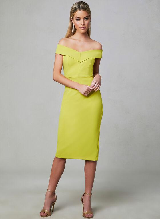 Off-the-Shoulder Dress, Yellow, hi-res