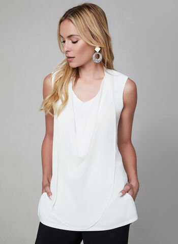 Draped Sleeveless Top, Off White, hi-res,  chiffon, mesh, jersey, V-neck, fall 2019, winter 2019