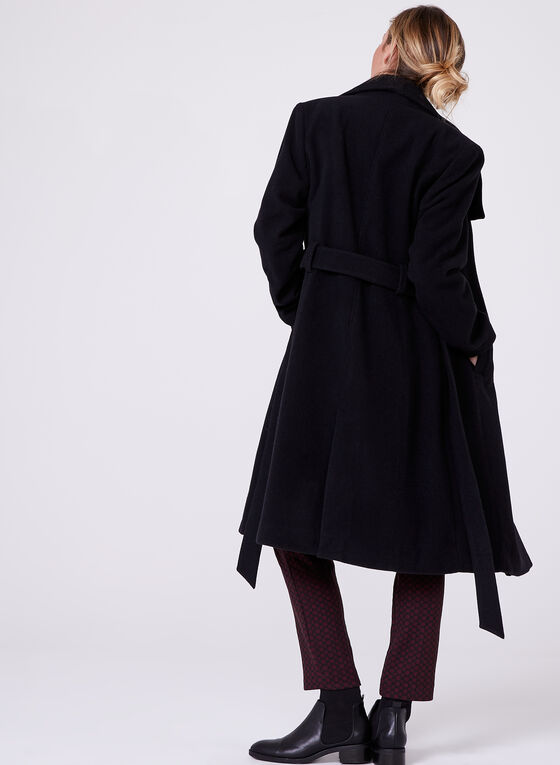 Hilary Radley - Belted Wool Blend Coat , Black, hi-res