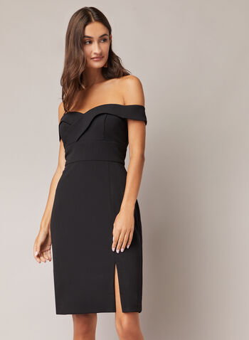 Crepe Off-the-Shoulder Dress, Black,  cocktail dress, sweetheart, off the shoulder, crepe, scuba, fall winter 2020