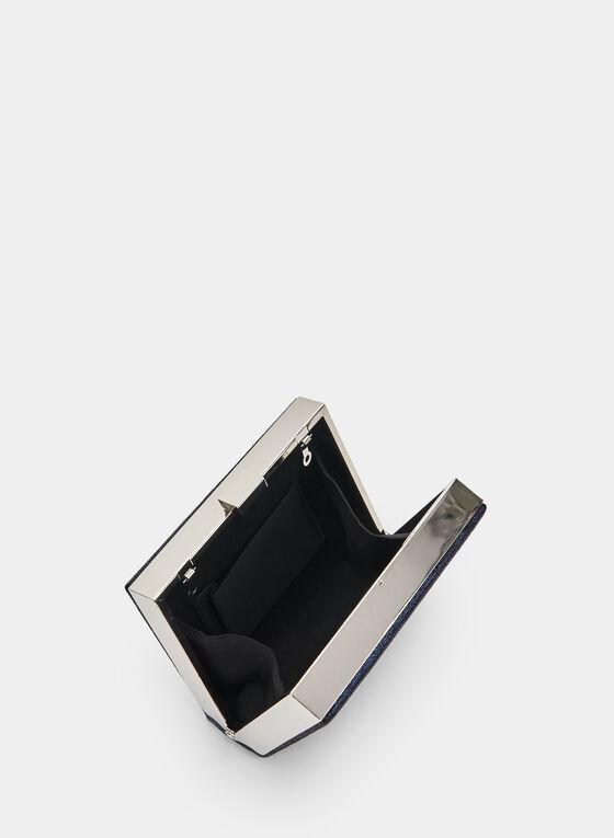 Metallic Box Clutch, Blue, hi-res