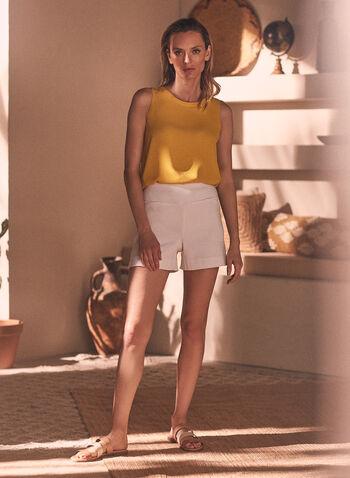 Bermuda en jacquard à enfiler , Blanc,  bermuda, à enfiler, pull-on, jambe droite, fausses poches, jacquard, pois, texture, fait au Canada, printemps été 2021