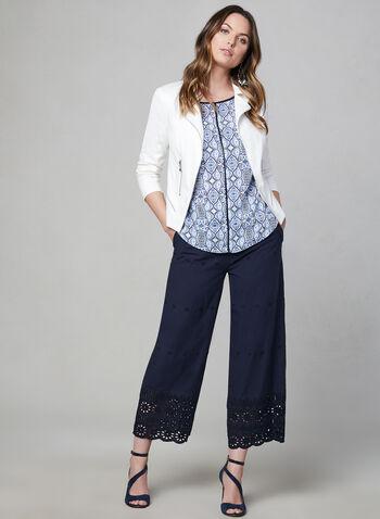 Blouse motif cachemire à manches courtes, Bleu, hi-res,  blouse, manches courtes, col dégagé, motif cachemire, couture contrastante, printemps été 2019