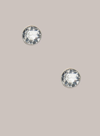 Crystal Stud Earrings, Silver,  Fall winter 2020, jewellery, jewelry, crystal, stud, push back post, holiday, holiday 2020, gift
