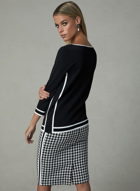 Pull à manches coudes avec lignes contrastantes, Noir, hi-res