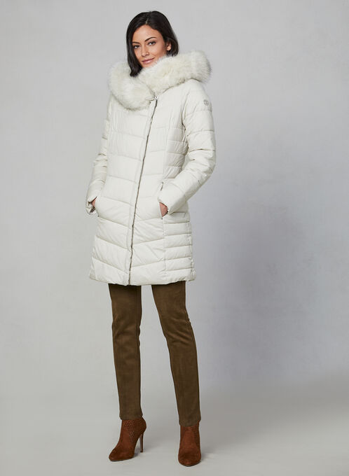 Bernardo - Quilted Faux Fur Coat, Off White, hi-res