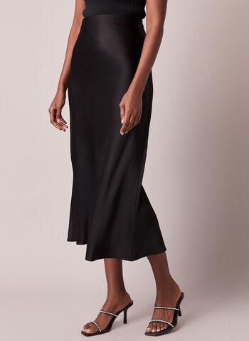 Satin-Like Midi Skirt, Black,  skirt, satin, midi, fall winter 2020