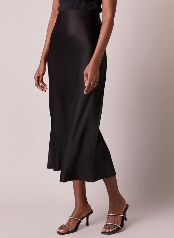 Satin-Like Midi Skirt, Black