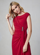 Maggy London - Robe drapée à détail cristaux, Rouge