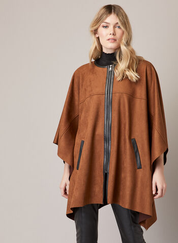 Front Zipper Faux Suede Cape, Brown,  fall winter 2020, cape, poncho, suede, coat, draped