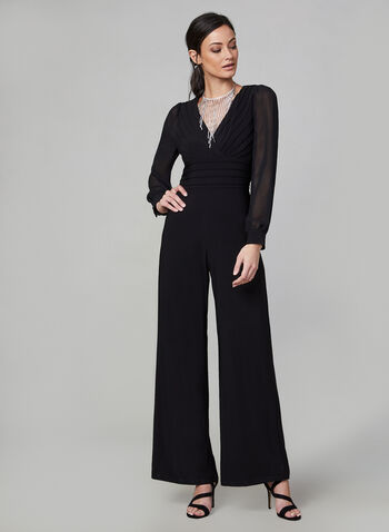 Adrianna Papell - Jumpsuit With Sheer Sleeves, Black,  jumpsuit, wide leg, long sleeves, chiffon, sheer, wide leg jumpsuit, holiday, fall 2019, winter 2019