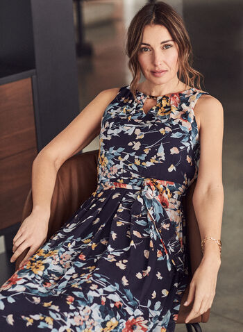 Donna Ricco - Floral Print Sleeveless Dress, Blue,  dress, maxi, floral, sleeveless, belted, chiffon, fall winter 2020