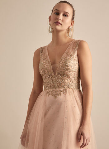BA Nites - Embroidered Rhinestone Dress, Pink,  prom dress, gown, a-line, v-neck, mesh, embroidery, rhinestones, open back, spring summer 2020