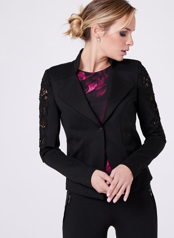 Cropped Crochet Detail Blazer , Black, hi-res