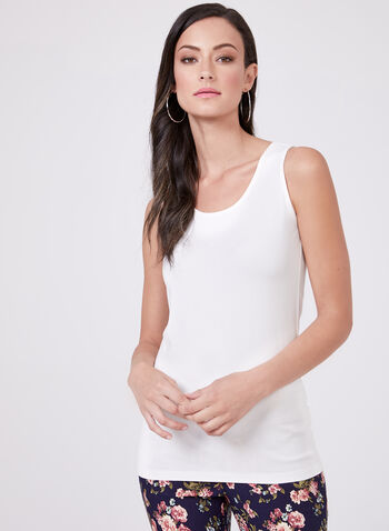 Scoop Neck Camisole, Off White, hi-res