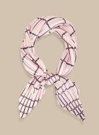 Foulard carré plissé à carreaux, Rose
