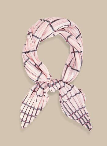 Foulard carré plissé à carreaux, Rose,  foulard, carré, carreaux, plissé, printemps été 2020