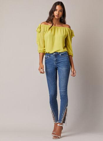 Jeans étroit à ourlet ornementé, Bleu,  jeans, étroit, denim, perles, billes, franges, automne hiver 2020