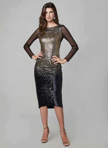 Frank Lyman – Ombré Sequin Dress, Black, hi-res,  evening dress, cocktail dress, sequin dress