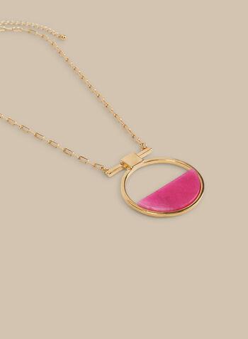 Collier à anneau et pierre semi-précieuse, Rose,  collier, pierre demi-lune, semi-précieuse, maillon, anneau, printemps été 2020