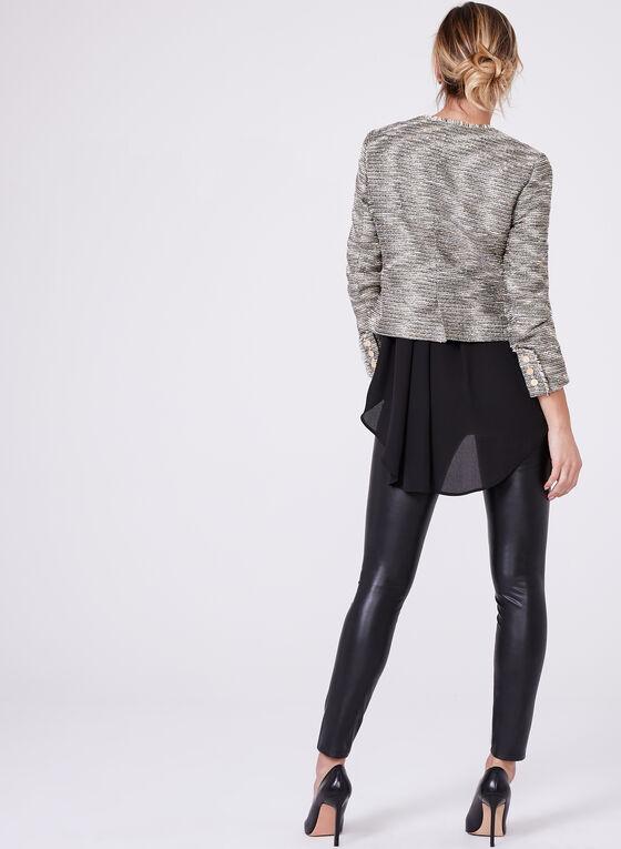 Veste courte en tweed bouclé et fils métalliques, Jaune, hi-res