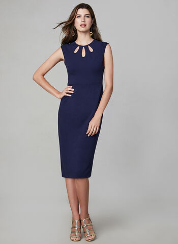 Maggy London – Scuba Crepe Keyhole Neck Dress, Blue, hi-res,  sheath dress, scuba crepe, extended shoulders, jewel neck, fall 2019, winter 2019