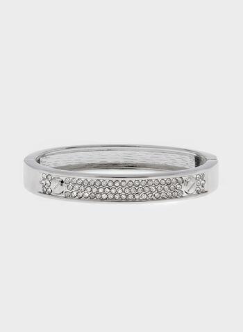Bracelet rigide avec cristaux , Argent, hi-res