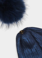 Tuque en tricot au pompon en angora, Bleu, hi-res