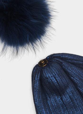 Angora Pompom Metal Fibre Tuque, Blue, hi-res