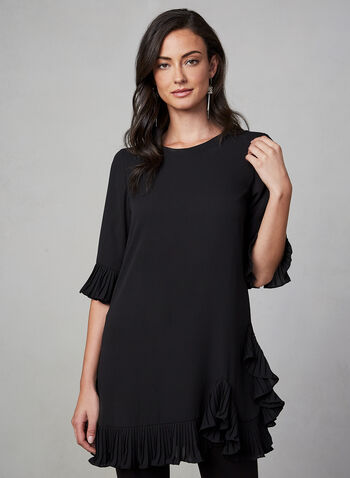 Joseph Ribkoff - Ruffle Sleeve Top, Black, hi-res,  top, short sleeve, ruffle, crepe, pleat, fall 2019