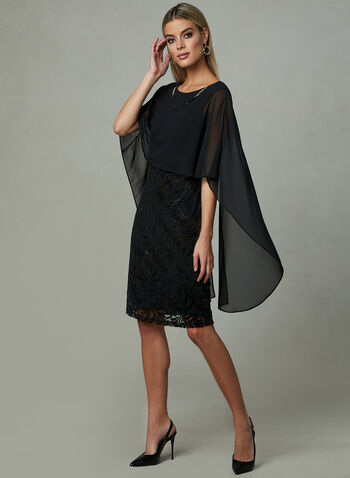 Frank Lyman - Embossed Poncho Dress, Black, hi-res