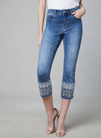 Embroidered Capri Jeans, Blue, hi-res