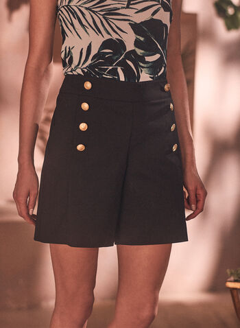 Cotton Blend Button Detail Shorts, Black,  shorts, button details, spring summer 2021