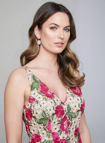 BA Nites - Floral Crochet Lace Dress, Pink, hi-res,  sleeveless, v-neck, midi dress, spring 2019, summer 2019