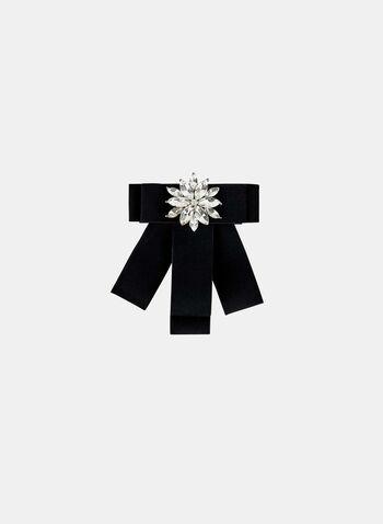 Épinglette en boucle avec fleur de cristal, Noir, hi-res