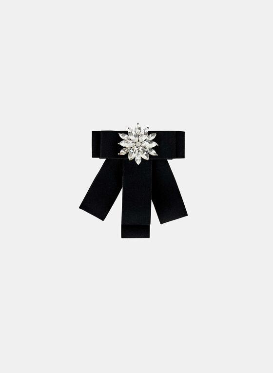 Ribbon & Crystal Floral Brooch , Black, hi-res