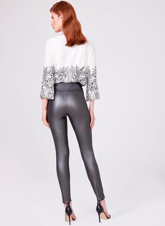 Pantalon pull-on à jambe étroite en similicuir, Gris, hi-res