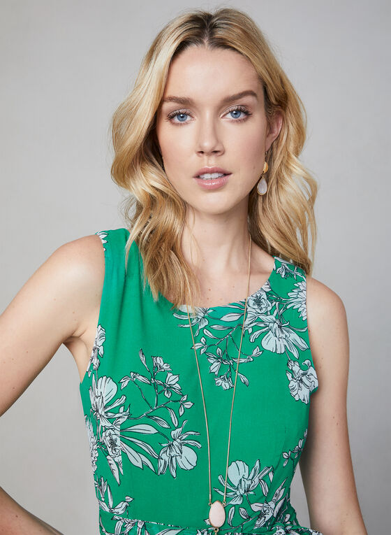 Floral Print Chiffon Dress, Green, hi-res