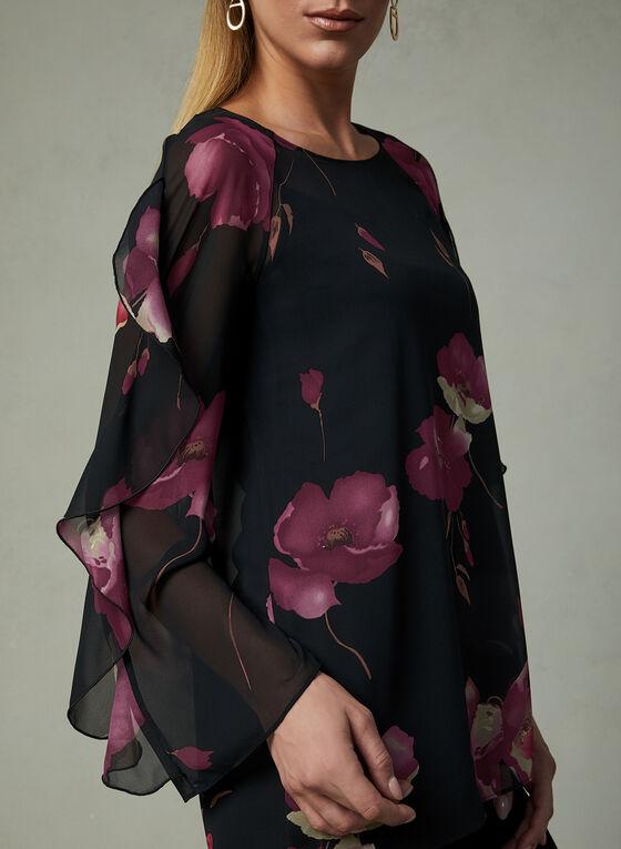 Haut en mousseline à motif floral , Rouge, hi-res