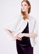 Adrianna Papell - Faux Fur Cape, Off White, hi-res